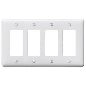 Hubbell-Bryant NP264W Decora Wallplate, 4-Gang, Nylon, White