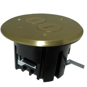 Allied Moulded FB-3 Floor Box Assembly, Includes Duplex Receptacle, Brass Floor Plate