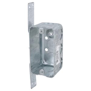 "Steel City 58371V1/2-25 Handy Box, 1-Gang, 2-1/8"" Deep, 1/2"" KOs, Drawn, CV Bracket, Steel"