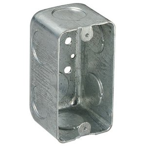"Steel City 58371-3/4 Handy Box, 2-1/8"" Deep, 3/4"" KOs, Drawn, Steel"