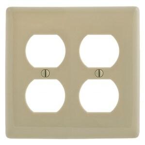 Hubbell-Bryant NP82I Duplex Receptacle Wallplate, 2-Gang, Nylon, Ivory