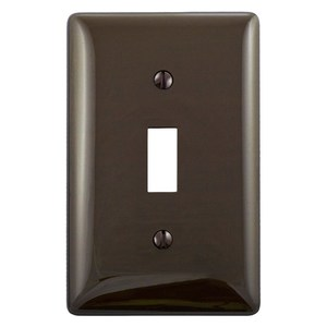 Hubbell-Bryant NP1 Toggle Switch Wallplate, 1-Gang, Nylon, Brown