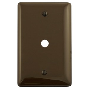 "Hubbell-Wiring Kellems NP11 Telephone Wallplate, 1-Gang, .406"" Hole, Nylon, Brown, Box Mount"