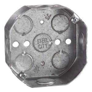 "Steel City 54151-1/2 4"" Octagon Box, 1-1/2"" Deep, 1/2"" KOs, Drawn, Steel"