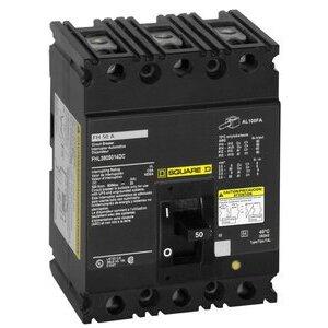 Square D FH36100 Breaker, Molded Case, 100A, 3P, 600VAC, 250VDC, F Frame, 18kAIC
