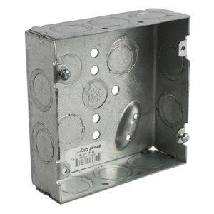"Steel City 72151-1/2-3/4-E 4-11/16"" Square Box, Welded, Metallic, 2-1/8"" Deep"