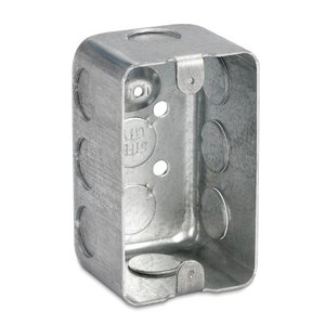 "Steel City 68371-1/2 Handy Box, 2-13/16"" Deep, 1/2"" KOs, Drawn, Steel"
