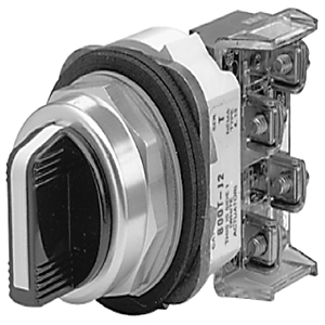 Allen-Bradley 800T-J5KE7B Selector Switch, 3-Position, 30mm, Knob, Spring Return from Right