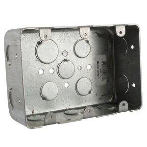 "Steel City 3G4D-1/2 Gang Box, 3-Gang, 2-1/8 Deep, 1/2"" KOs, Drawn, Steel"