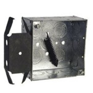 "Hubbell-Raco 238 4"" Square Box, Welded, Metallic, 2-1/8"" Deep, MS Bracket"