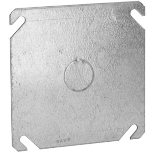 "Hubbell-Raco 753 4"" Square Cover, Flat, 1/2"" Knockout in Center"