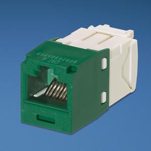 Panduit CJ688TGGR Snap In Connector, Mini-Com, TX6 PLUS UTP, Cat 6, Green