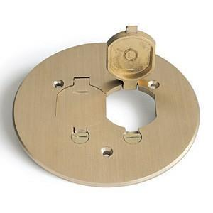 "Lew TCP-2-LR Round Duplex Cover, Diameter:  5-3/4"", Metallic, Brass"