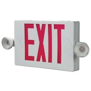 All-Pro Lighting APC7R Combo Exit Sign/Emergency Light, LED, 2-Head, Red Letters