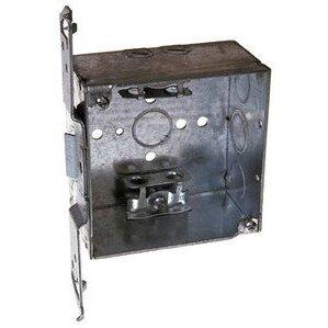 "Hubbell-Raco 241 4"" Square Box, Welded, Metallic, 2-1/8"" Deep, TS Bracket"