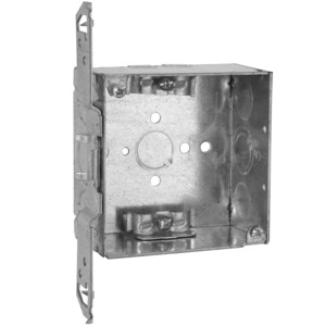 "Hubbell-Raco 240 4"" Square Box, Welded, Metallic, 2-1/8"" Deep, TS Bracket"