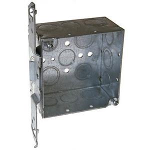 "Hubbell-Raco 235 4"" Square Box, Welded, Metallic, 2-1/8"" Deep, TS Bracket"