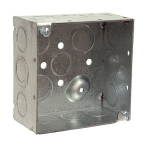 "Hubbell-Raco 232 4"" Square Box, Welded, Metallic, 2-1/8"" Deep"