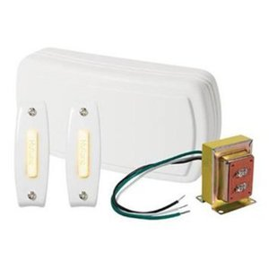 Nutone BK125LWH Wired Chime Kit, Illuminated, 2-Pushbuttons, Surface Mount, White