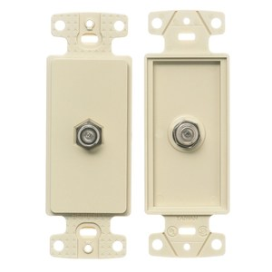 Hubbell-Premise NS780LA Wallplate Insert, Decora, F-Connector, Light Almond