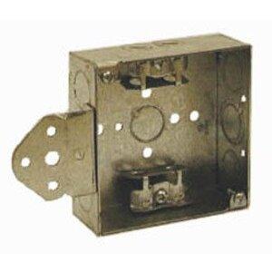 "Hubbell-Raco 224 4"" Square Box, Welded, Metallic, 1-1/2"" Deep, B Bracket"