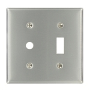 Leviton S112-N Comb. Wallplate, 2-Gang, Duplex/Phone, 302 Stainless Steel