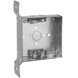 "Hubbell-Raco 223 4"" Square Box, Welded, Metallic, 1-1/2"" Deep, FS Bracket"