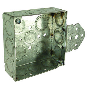 "Hubbell-Raco 193 4"" Square Box, Welded, Metallic, 1-1/2"" Deep, B Bracket"