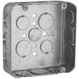 "Hubbell-Raco 247 4-11/16"" Square Box, Drawn, Metallic, 1-1/2"" Deep"