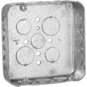 "Hubbell-Raco 245 4-11/16"" Square Box, Drawn, Metallic, 1-1/2"" Deep"