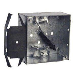 "Hubbell-Raco 243 4"" Square Box, Welded, Metallic, 2-1/8"" Deep, MS Bracket"