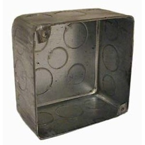 "Hubbell-Raco 239 4"" Square Box, Drawn, Metallic, 2-1/8"" Deep"