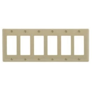 Hubbell-Kellems SS266 Decora Wallplate, 6-Gang, Stainless Steel