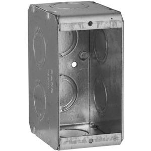 "Hubbell-Raco 690 Masonry Box, 1-Gang, 2-1/2"" Deep, 1/2 "" & 3/4"" KOs, Metallic"