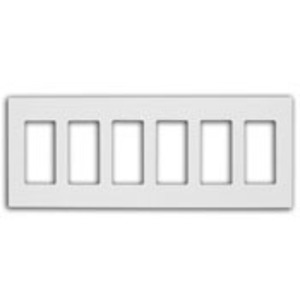 Leviton 80326-SW Screwless Decora Wallplate, 6-Gang, Polycarbonate, White