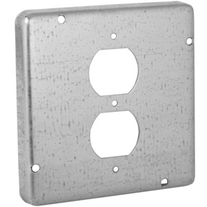 "Hubbell-Raco 972 4-11/16"" Square Exposed Work Cover, (1) Duplex Receptacle"