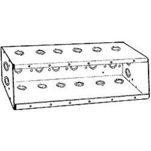 "Hubbell-Raco 960 Masonry Box, 6-Gang, 2-1/2"" Deep, 1/2 and 3/4"" KOs, Steel"