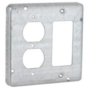"Hubbell-Raco 959 4-11/16"" Square Exposed Work Cover, (1) Duplex, (1) Decora/GFCI"