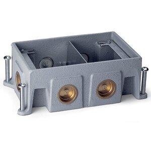 "Wiremold 880CS2-1 Floor Box, 2-Gang, Depth: 3-7/16"", (6) 1"" Conduit Openings, Cast Iron"