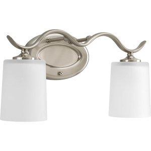 Progress Lighting P2019-09 Bath Light, 2-Light, 100W, Brushed Nickel