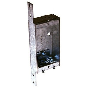 """Hubbell-Raco 404 Switch Box, Non-Gangable, Steel, 1"""" Deep, NM Clamps, Q-Clamp"""