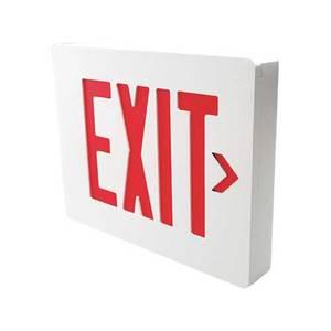 Hubbell-Dual-Lite SESRWE Sign Exit LED Cast Al Em Sgl Red Ltrs Wh