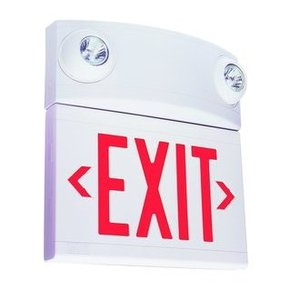 Hubbell-Dual-Lite LTURW3 Emergency Combo Exit/Light, LED, Red Letters