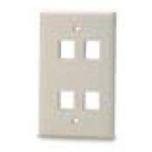 Bizline FPSG4PWHT Wall Plate, Snap-In, 1-Gang, 4 Port, White