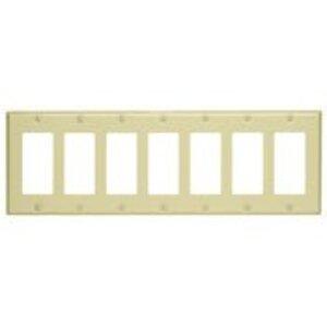Leviton 80407-I Decora Wallplate, 6-Gang, Thermoset, Ivory