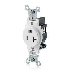Leviton 5801-W Single Receptacle, 20A, 125V, 5-20R, White
