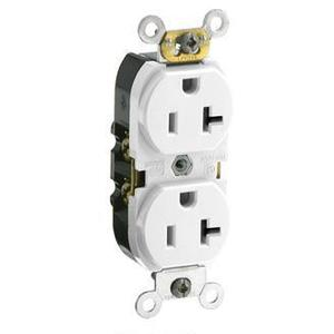 Leviton CR020-W 20 Amp Duplex Receptacle, 125V, 5-20R, White, Side Wired, Smooth Face