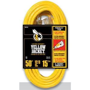 Bizline 50FT123YLJKT Contractor Extension Cord, 15A, 125V, 50', Yellow