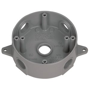 "Appleton WRX75 Weatherproof Round Box, Diameter: 4"", Depth: 1.62"", (5) 3/4"" Hubs"