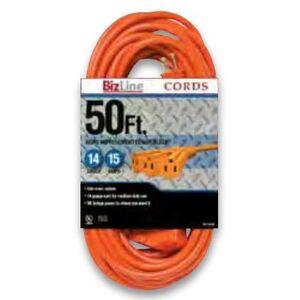 Bizline 50FT143OR3TA 3-Outlet Power Block Extension, 14/3 SJTW, 50', Orange